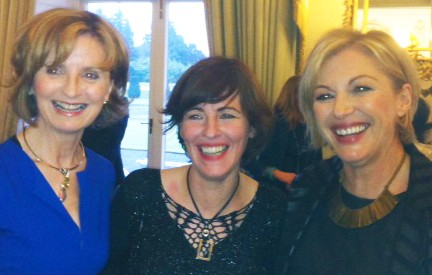 Liz O'Donnell with Adi Roche and Eleanor McEvoy celebrating International Womens Day at the Áras