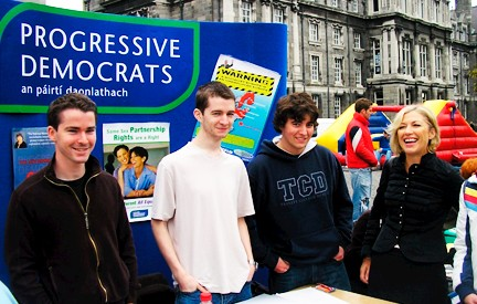 Liz O'Donnell with some young Progressive Democrats members promoting the party