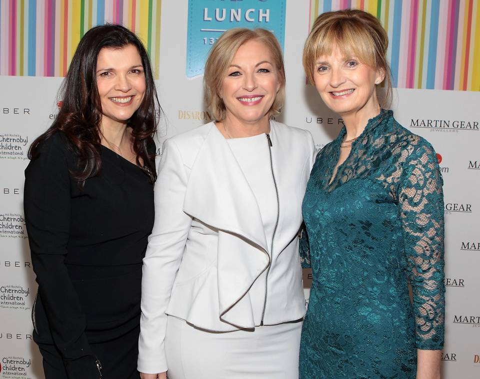 Ali Hewson Liz O Donnell and Adi Roche at Liz O Donnells annual fundraising lunch for Adi Roches Chernobyl Children International at Fire Restaurant Dublin