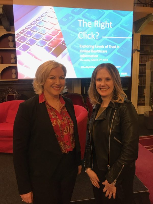 Liz and broadcaster Audrey Carville at the launch of The Right Click Report in the Royal Irish Academy
