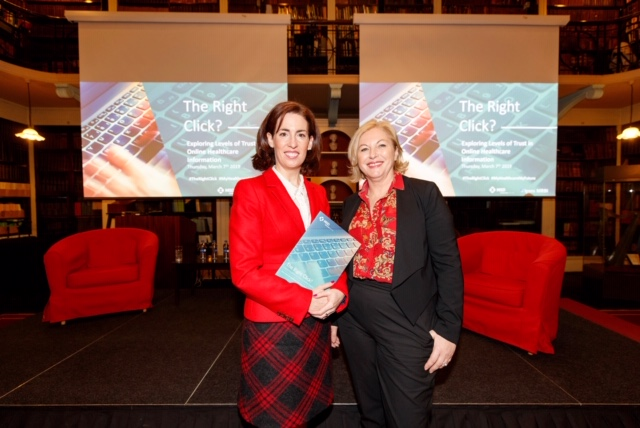 "Liz and broadcaster Audrey Carville at the launch of The Right Click "" Report in the Royal Irish Academy"